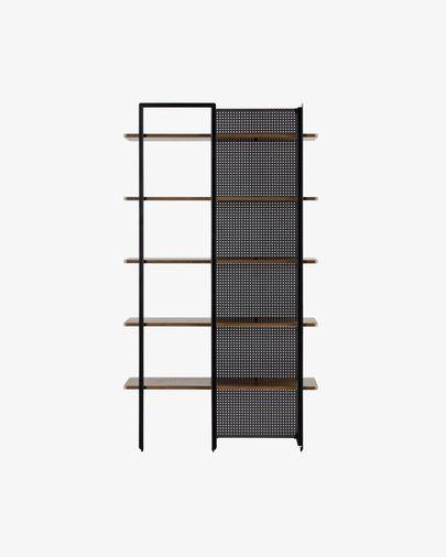Estantería Nadyria chapa de nogal y acero acabado negro 100 x 180 cm