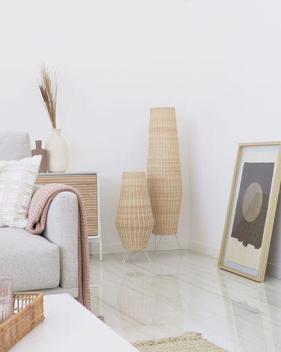Lámpara de mesa mediano Kamaria de ratán con acabado natural