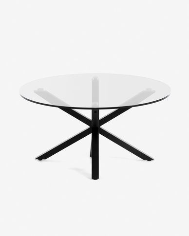 Table basse Full Argo Ø 82 cm verre pieds noir