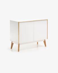 Aparador Melan 90 x 72 cm lacado branco e madeira maciça de seringueira