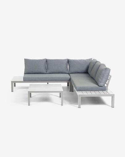 Set de exterior Duka de sofá rinconero 5 plazas y mesa de aluminio blanco