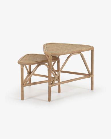 Set Queenie de 2 mesas de apoio de ratã com acabamento natural 65 x 53 cm y 50 x 42 cm