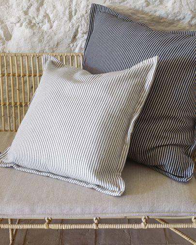 Poszewka na poduszkę Aleria bawełna w szaro-białe paski 45 x 45 cm