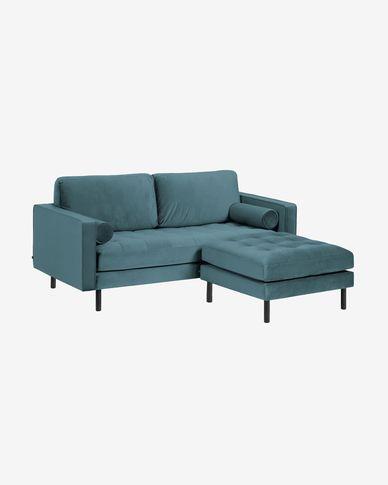 Debra 2-zitsbank met turquoise fluwelen voetbank 182 cm