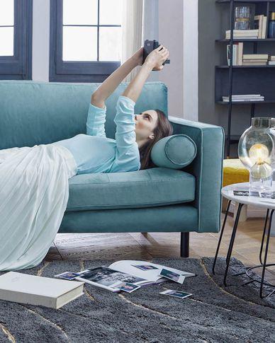 3-zitsbank Debra turquoise velvet 222 cm