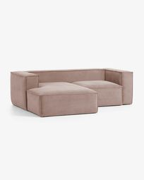 Blok 2-seater sofa with left-hand chaise longue in pink corduroy 240 cm