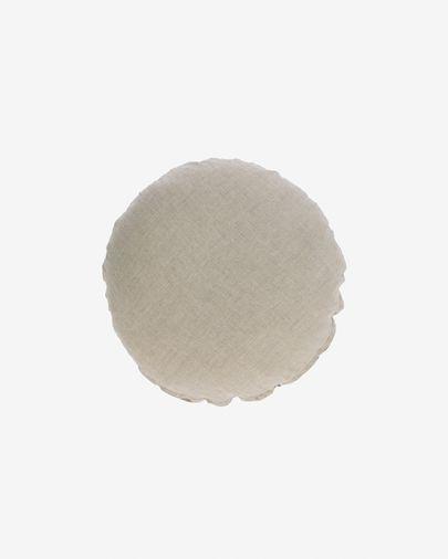 Funda coixí rodó Tamanne 100% lli beix Ø 45 cm