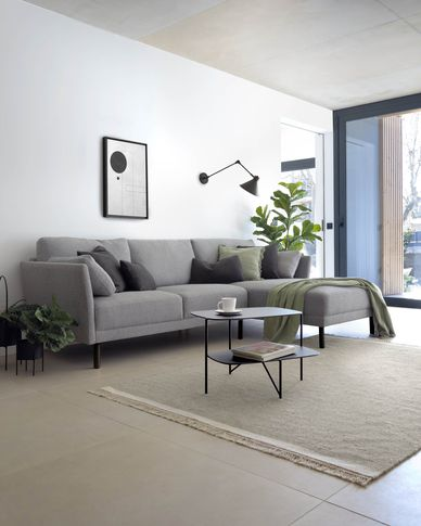 Gilma grey 3-seater sofa with right-hand chaise longue with legs in dark finish 260 cm