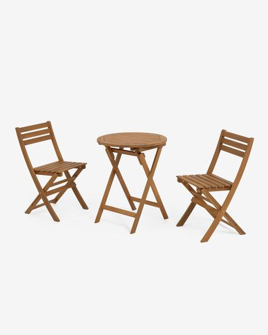 Elisia set of garden table and two folding chairs in solid acacia