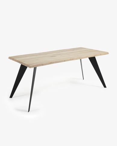 Tavolo Koda 160 cm rovere sbiancato gambe nero