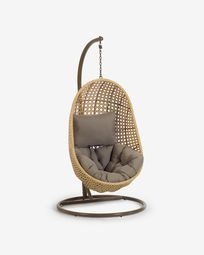 Cira hanging chair with base and natural finish