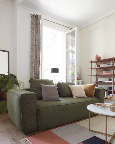 Blok 2-seater sofa in thick green corduroy 210 cm
