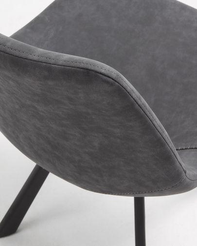 Silla Alve grafito y acero con acabado negro