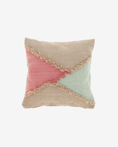 Dalila PET cushion cover with beige fringe