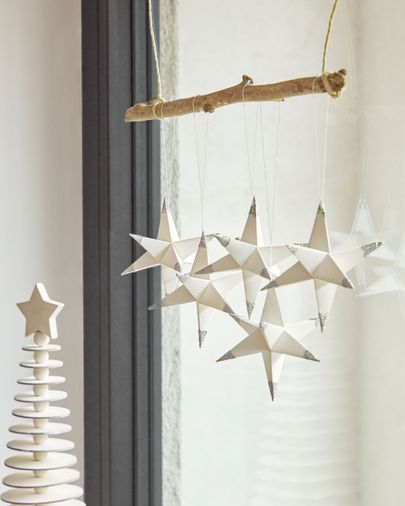 Set Belalia de 3 estrellas colgantes decorativas gris