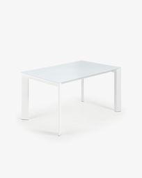 Mesa extensível Axis 140 (200) cm vidro branco pernas branco