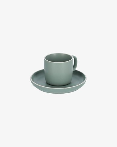 Shun coffee cup and saucer in green porcelain