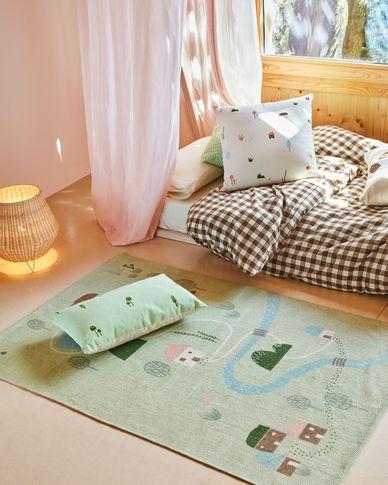 Tapis Llaru 100% coton vert maisons et arbres multicolore 90 x 130 cm