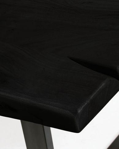 Taula Alaia de fusta massissa d'acàcia negre i potes d'acer negre 160 x 90 cm