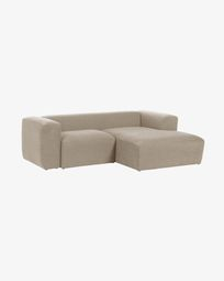 Canapé d'angle Blok 2 places fixe droite beige 240 cm