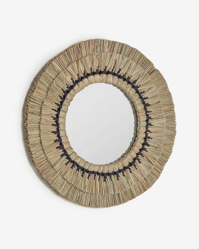 Akila ronde spiegel natuurvezels beige en zwart katoenen touw Ø 60 cm