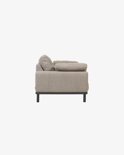 Noa 3-seater sofa in beige with cushions and dark finish legs 230 cm