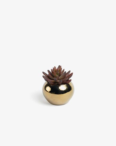Sedum lucidum artificial plant in gold ceramic pot