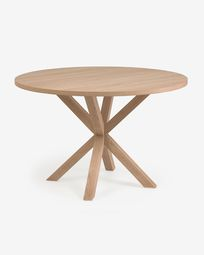 Full Argo round Ø 119 cm natural melamine table with steel legs with wood-effect finish