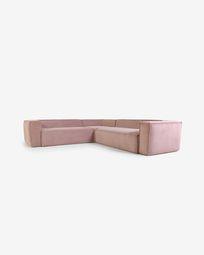Blok 4-seater corner sofa in pink corduroy 290 x 290 cm