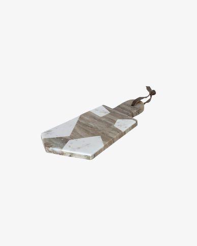 Tagliere da portata triangolare Vanina in marmo bianco e grigio