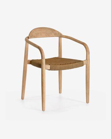 Krzesło Nina z litego drewna eukaliptusowego i beżowej liny FSC 100%