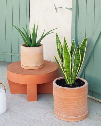 Karlina set van 2 potten met terracotta plaat Ø 33 cm / Ø 24 cm