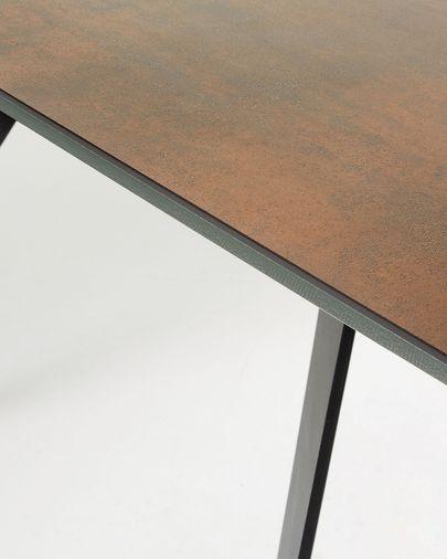 Koda table 160 cm porcelain Iron Corten finish black legs
