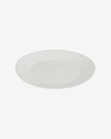 Piatto piano ovale Pierina in porcellana bianca