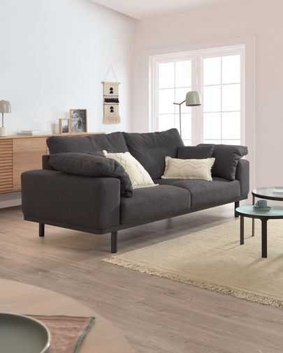 Noa 3-seater sofa with grey pillows and dark legs 230 cm