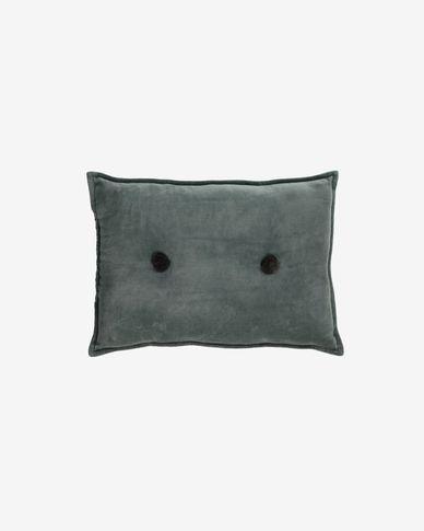 Cojín Brunetta  de terciopelo turquesa oscuro 35 x 50 cm