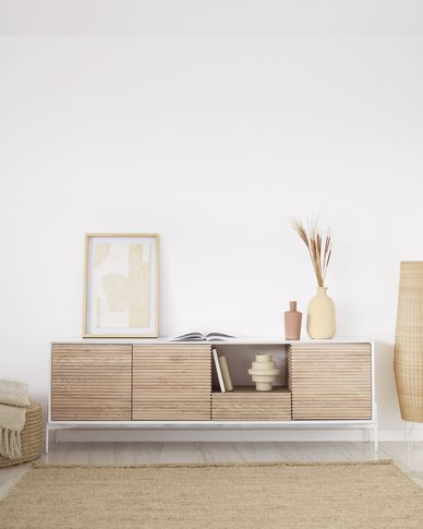 Marielle sideboard made from ash wood with white lacquer 207 x 69 cm
