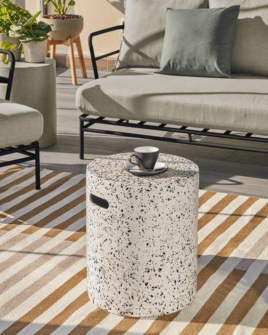 Jenell terrazzo stool in white, Ø 35 cm