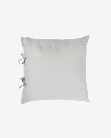 Funda cojín Tazu 100% lino gris claro 45 x 45 cm