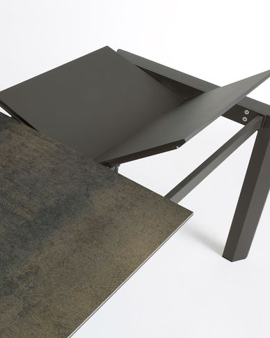 Extendable table Axis 160 (220) cm porcelain Iron Moss finish anthracite legs