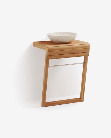 Moble de bany de paret amb pica lavabo Kuveni de fusta massissa de teca 60 x 80 cm