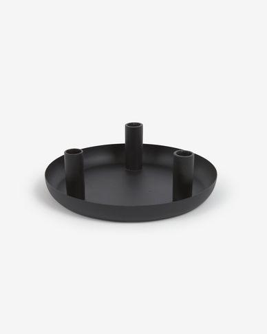 Świecznik Eire czarny metal 8 cm