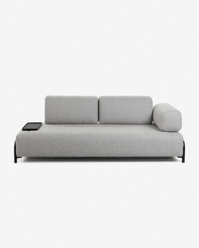 Compo 3-seater sofa in light grey with small tray 232 cm