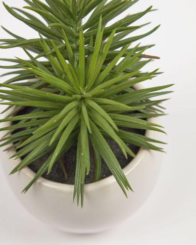 Kunstplant Pino met witte keramische plantenbak 16 cm