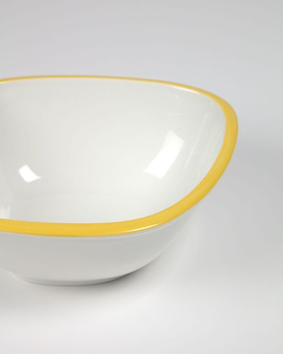 Odalin small porcelain bowl in yellow and white