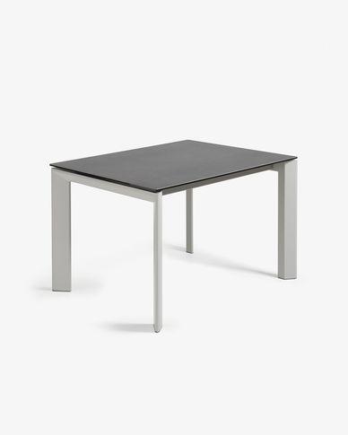 Table extensible Axis 120 (180) cm grès cérame finition Vulcano Roca pieds gris