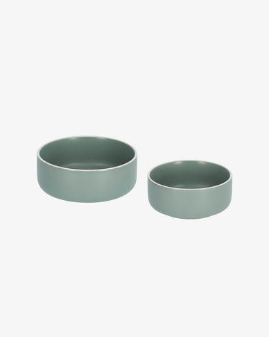 Shun set van grote en kleine kom in groen porselein