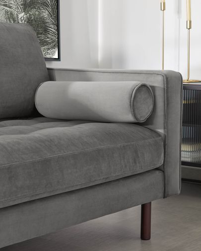 Sofá Debra 3 plazas con reposapiés terciopelo gris 222 cm