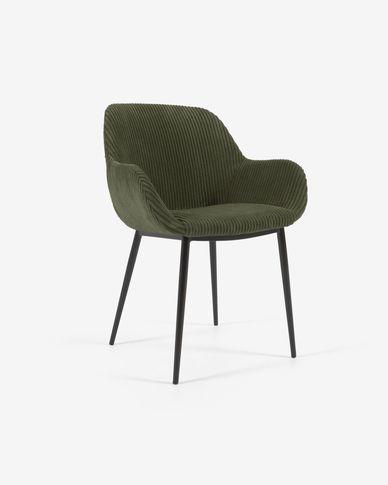 Chaise Konna velours à grosses côtes vert foncé avec pieds en acier peint noir