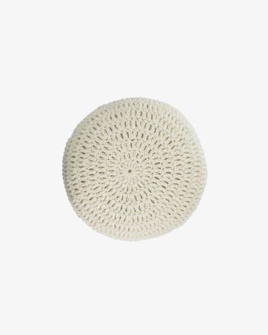 Magnolia round 100% wool cushion in white Ø 45 cm